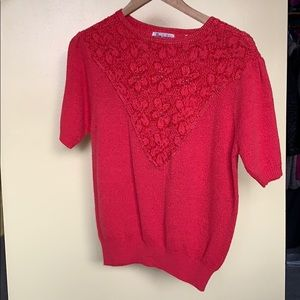 Coral red knit vintage top